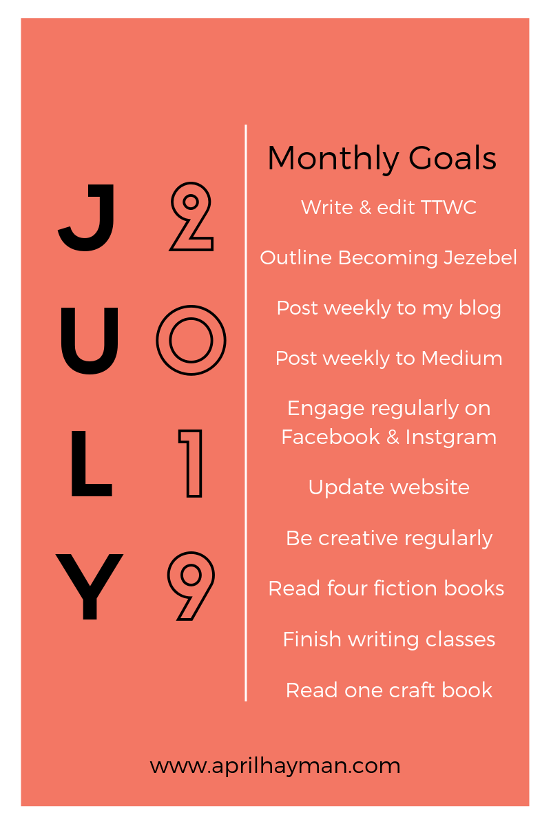 July 2019 goals for April Hayman, author