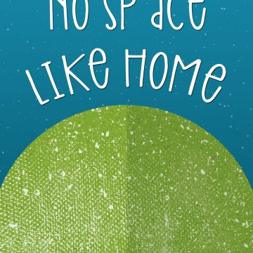 Book cover with blue background and green world